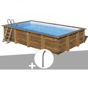 Sunbay Kit piscine bois Evora 6,00 x 4,00 x 1,33 m + Douche