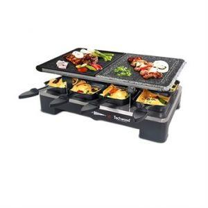Techwood Raclette 8 personnes 3 en 1 Grill - Pierre de Cuisson