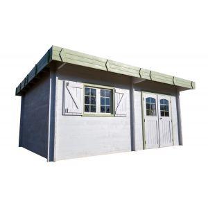 Habrita Abri de jardin madriers bois massif à double rainurage toit plat avec bac acier 25.32 m²