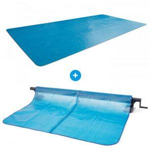 Intex Pack Bâche à bulles pour piscine rectangulaire XTR 9,75 x 4,88m + Enrouleur