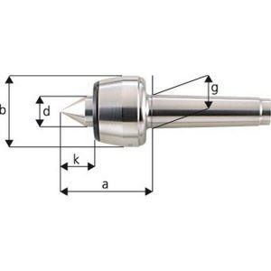 Forum Pointe tournante, Taille : 102, MK 2, a 65,0 mm, b : 45 mm, d : 20 mm, g : 17,780 mm, k : 24,0 mm, Ecart de concentricité maximum : 0,005 mm