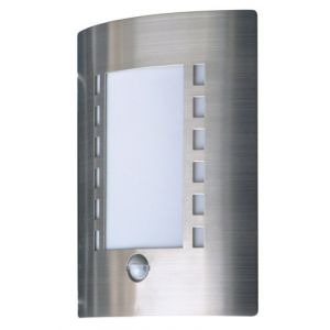 Ranex Applique murale Smartwares 5000.086 Messina %u2013 Lampe extérieure %u2013 Acier inoxydable %u2013 Détecteur de mouvement %u2013 IP44