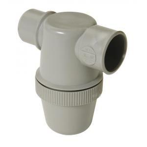 Nicoll YJ1C - Siphon de lavabo a coller gris avec entrée horizontale Diam. 50 mm