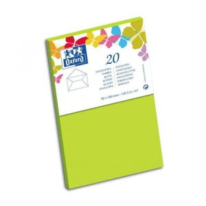 Oxford 20 Enveloppes - 14 cm x 9 cm x 1,5 cm - 120g - Vert