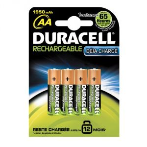 Duracell Pack de 4 piles rechargeable AA (HR6)