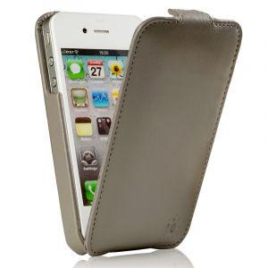 Issentiel Housse pour iPhone 4/4S Cuir Gris - Collection Prestige