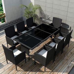 VidaXL Ensemble à dîner de jardin 17 pièces rotin synthétique noir