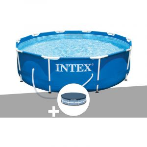 Intex Kit piscine tubulaire Metal Frame ronde 3,05 x 0,76 m + Bâche de protection
