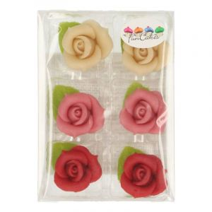 FunCakes 6 Roses en pâte d'amande assorti