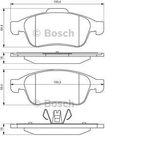 Bosch BP1363 - Jeu de 4 plaquettes de frein avant