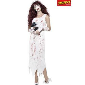 Smiffys Cost e de zombie mariée, Blanc, avec robe, gants et voile