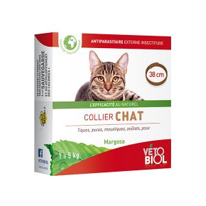 Vetobiol Collier anti-insectes chat (38cm) (marron)