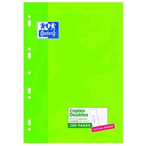 Oxford 100105678 - Copies doubles perforées A4 200p./ 100 feuilles 80g/m², quadrillé 5x5 + marge