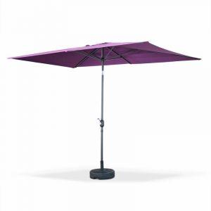 Alice's Garden Parasol droit Touquet rectangulaire 2x3m Prune, mât central aluminium orientable et manivelle d'ouverture