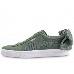 Puma Chaussure Basket Suede Bow Uprising pour Femme, Vert/Blanc, Taille 40 |
