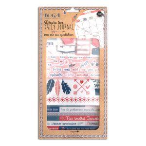 Toga Ma Vie Au Quotidien Kit Accessoires Bullet Journal, Papier/Plastique, Vert - Bleu - Rose, Pack : 15,8x30,5cm