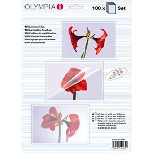 Olympia 100 pochettes de plastification (20 x A4, 20 x A5, 20 x A6, 40 pochettes pour cartes de visite), 80 microns