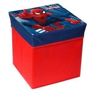 Pouf de rangement carré modèle Spiderman en tissu avec couvercle imprimé (31 x 31 x 33 cm)