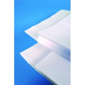 Clairefontaine 10650C - Paquet de 50 pochettes à soufflet Adhéclair kraft blanc, avec fenêtre 50x105 à 60/20, adhésive avec bande, 120 g/m², 229x324x30