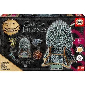 Educa Puzzle 3D en bois Game of Thrones (56 pièces)