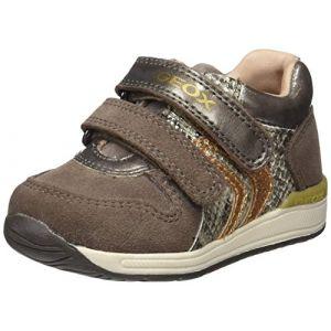 Geox B Rishon B, Sneakers Basses bébé fille, Marron (Smoke Grey), 24 EU