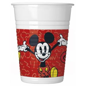 8 Gobelets en plastique Mickey rétro 200 ml