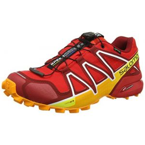 Salomon Homme Speedcross 4 GTX Chaussures de Trail Running, Imperméable, Rouge (Fiery Red/Red Dalhia/Bright Marigold), Taille: 45 1/3