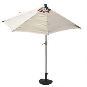 Mendler Demi-parasol aluminium Parla pour balcon ou terrasse, Ip 50+, 285cm ~ crème avec pied