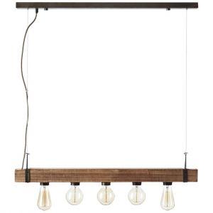 Brilliant AG WOODHILL-Suspension barre 5 lumières Métal et Bois L80cm Bois