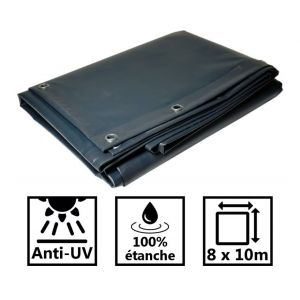 Toile pour tonnelle et pergola 680g/m² grise 8x10 m en PVC