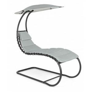 Pegane Chaise longue coloris gris clair - Dim : L 79 x P 174 x H 183 cm