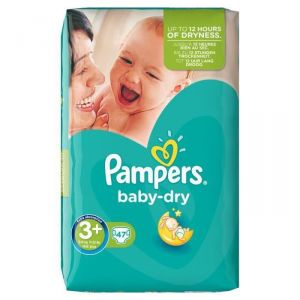 Pampers Baby Dry taille 3+ Midi+ 5-10 kg - Géant 47 couches