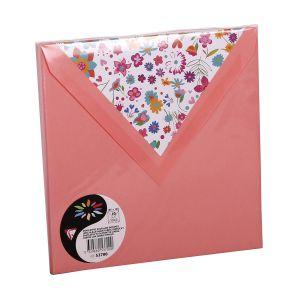 Pollen 53700C - Enveloppe 165x165, 120 g/m², coloris litchi, doublure Liberty, en paquet cellophané de 10