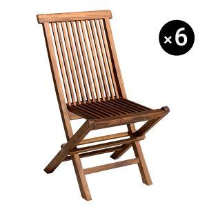 Happy Garden Lot de 6 chaises de Jardin en Teck huilé Lombok