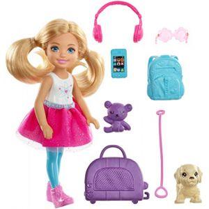 Mattel Poupée Barbie - Chelsea Voyage Blonde, avec un Chien, un Sac de Voyage et des Accessoires - FWV20