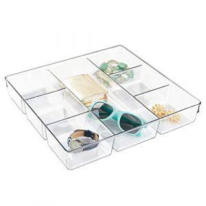 InterDesign IDesign bac tiroir pour armoire ou coiffeuse, petit casier rangement plastique pour accessoires, séparateur tiroir à 7 compartiments, transparent
