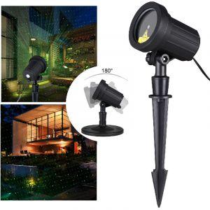Deuba Projecteur à LED jardin terrasse - lumière motif étoile IP44 pivotable 180° projection 10m piquet de terre base ronde