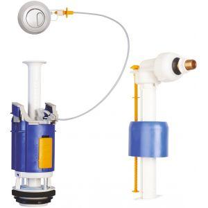 Neptune Mecanisme à poussoir double débit + robinet flotteur - Bouton chromé