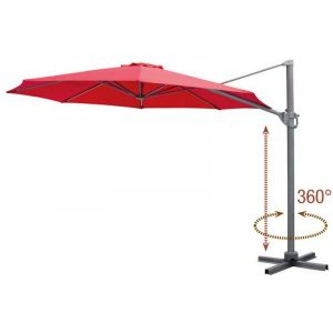 Cosygarden Parasol de Jardin Aluminium déporté Rotatif Design Rouge Diamètre de 3,5 m