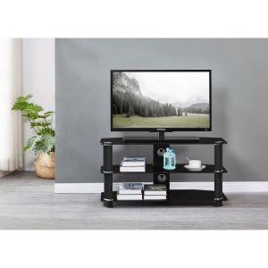 NATHAN Meuble TV en verre trempé Noir L 90 x P 40 x H 45 cm