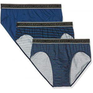 Athena Slip Homme Bleu Taille Basse Tonic T5 - Le Lot De 3 Slips