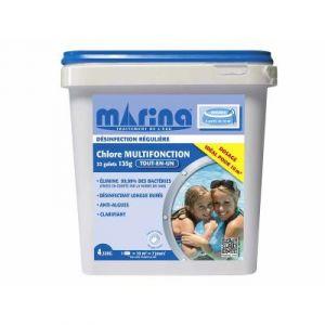 Marina Chlore multifonction galets 135 g pour piscine 10 m³ - 4,32 kg -