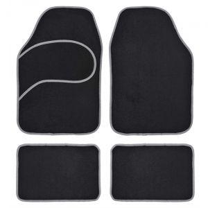 4 tapis voiture universels moquette noir ganse grise