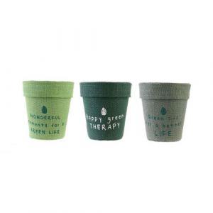 The home deco factory Lot de 3 cache-pots en jute plastifié Little Garden - Diam. 9 cm - Vert