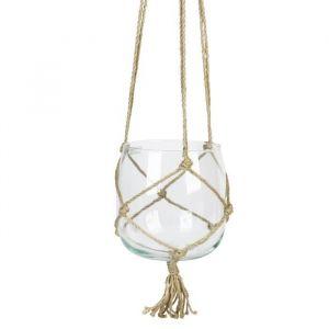 Boule en verre à suspendre - Avec corde en chanvre - Ø 18 cm - Blanc transparent