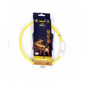 Duvo Anneau Lumineux Seecurity Flash Light Ring USB Nylon - 35 cm - Jaune - Pour chien