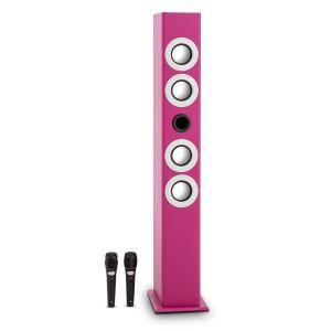 OneConcept Tallgirl Enceinte tour karaoké Bluetooth USB SD MP3 FM AUX -rose