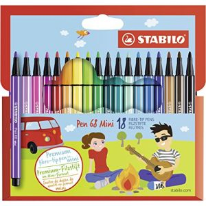 Stabilo Pen 68 Mini - Feutre Emballage transparent 18 pièces