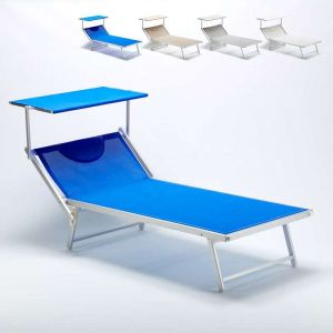 Image de Beach and Garden Design Bain de soleil grand professionnel chaise longue lit de plage piscine aluminium GRANDE ITALIA Extralarge   Bleu