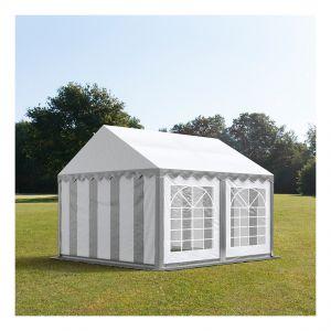 Intent24 Tente de réception 3 x 4 m PVC gris-blanc